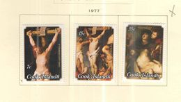 Cook Isole 1977 Crocifissione Cristo Di Rubens  Scott 471/473+ Nuovi.+See Scans - Cook