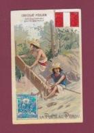 070118 CHROMO Gaufré Chocolat POULAIN - La Poste Au PEROU - Timbre Facteur Drapeau Eau Rapide - Peru