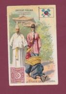 070118 CHROMO Gaufré Chocolat POULAIN - La Poste En COREE - Timbre Facteur Drapeau - Korea (...-1945)