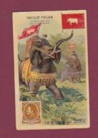 070118 CHROMO Gaufré Chocolat POULAIN - La Poste Au SIAM - Timbre Facteur Drapeau éléphant - Siam