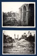 Lot De 2 Photos. Belgique Sur Papier Gevaert -Ridax. Viaduc Ferroviaire Détruit à Situer. Mai 1940 ? - Lieux