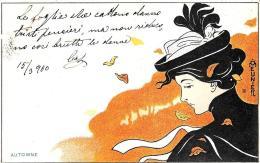 [DC11259] CPA - MEUNIER HENRI - ART NOUVEAU - DONNA - AUTOMME - PERFETTA - Viaggiata 1900 - Old Postcard - Meunier, G.