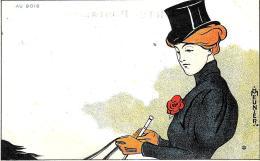 [DC11260] CPA - MEUNIER HENRI - ART NOUVEAU - DONNA - AU BOIS - PERFETTA - Viaggiata 1899 - Old Postcard - Meunier, G.
