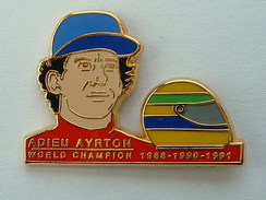 PIN'S FORMULE 1 - ADIEU AYRTON SENNA - WORLD CHAMPION 1988 1990 1991 - F1