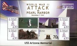 St Vincent 2010-2014, WW II, Attack On Pearl Harbor 1941,  Block Issue MNH, USS Arizona Memorial - WW2