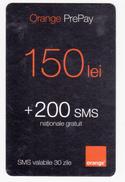 Moldova ,  Moldavie  Moldau ,  Prepaid Phonecard - Orange , 2009 ;  150 Lei  +200 SMS , Paper , Used - Moldova
