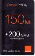 Moldova ,  Moldavie  Moldau ,  Prepaid Phonecard - Orange , 2008 ;  150 Lei  +200 SMS , Paper , Used - Moldova