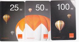 Moldova ,  Moldavie  Moldau ,  Prepaid Phonecard - Orange , 2013 ;  25 Lei  +50 Lei +100 Lei , 3 Ex. , Ser ,Paper , Used - Moldova