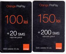 Moldova  , Moldavie  Moldau , Old Prepaid Phonecards - Orange , 2009  , 100 Lei , 150 Lei , Paper , Used - Moldova