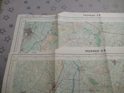PEZENAS (34)  LOT De 2 CARTES  IGN  1/25000 - Détails Voir Les Scans - Topographical Maps