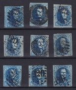 N° 7 :  9 Timbres Second Choix - 1851-1857 Médaillons (6/8)