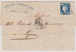 Cérès N° 60 A N° 01 G3 Marseille Sur Lettre 2 Scans - 1871-1875 Cérès