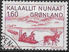 1981 Grönland Mi. 128 Used .Schlittenfahrt Nach Nordkanada; - Groenlandia