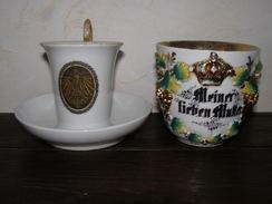 Lot De 2 Tasses Allemandes Patriotiques Réserviste En Porcelaine - 1914-18