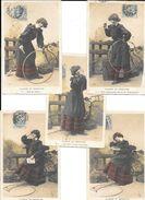 JEUX : CLAUDINE EN RECREATION - 5 Cpa Pionnières Différentes 1904 - CERCEAU, CORDE A SAUTER   édit. E.P. - Jeux Et Jouets