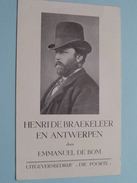 "HENRI De BRAEKELEER En ANTWERPEN Door Emmanuel DE BOM ( Uitgever "" DIE POORTE "" ) 10 X 16 Cm. / Boek / Voorstelling ! - Libri, Riviste, Fumetti"