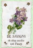SAVIGNY , Je Vous Envoie Ces Fleurs , Découpis ,Fleurs , Caractères Et Motifs Dorés , éditeur V Ve Karrer à Dôle - Frankreich