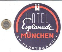 ETIQUETA DE HOTEL  - HOTEL ESPLANADE  -MUNCHEN -ALEMANIA - Etiketten Van Hotels