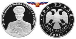 Russia 3 Rubles 2001 The 40th Anniversary Of Gagarin Space Flight Silver 1 Oz PROOF - Russia