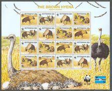 Neh190MSc WWF FAUNA ZOOGDIEREN HOND HYENA VOGELS STRUISVOGEL BIRDS OSTRICH DOGS MAMMALS BOTSWANA 1995 PF/MNH - W.W.F.