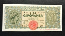 50 LIRE ITALIA TURRITA 10 12 1944 Spl+ OTTIMO BIGLIETTO  LOTTO 328 - [ 1] …-1946 : Regno