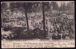 """THOUROUT - SINT PIETERSFEESTE OP DE PEERDEMARKT ---- Expédiéé Vers Paris - Griffe """" DANS L'ETAT - AUF / 782 """" Armoiries - Torhout"""