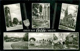 AK Oelde, Mehrbildkarte Mit Kirche Und Freibad, O 1971 (28029) - Andere