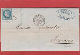 Ardèche - Tournon Sur Rhone - GC 3992 Sur N°29 - LAC Vers Romans - Avril 1863 - Marcophilie (Lettres)