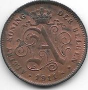 Belguim 2 Centimes 1911 Dutch    Xf - 1909-1934: Albert I