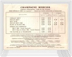 51 - 406 EPERNAY MARNE - CHAMPAGNE MERCIER Prix Cadeaux Entreprise - Food
