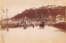 "07123 ""(CN)  MONDOVI' PIAZZA - 1890   ANIMATA, CARROZZE, MILITARI. FOTOGRAFIA  ORIGINALE. - Luoghi"