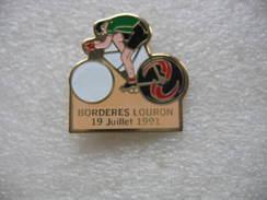 Pin's Vélos, Cyclisme:  Coureur BORDERES Louron Sur Son Vélo Le 19 Juillet 1991 - Cycling