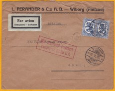 1929  - Enveloppe Par Avion  De Viipuri, Finlande Vers Gand, Belgique Via Berlin, Allemagne - Cad Arrivée - Briefe U. Dokumente