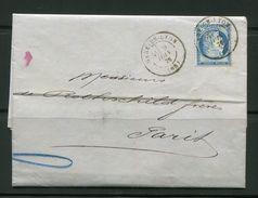 Lettre De 1875 De GARE DE LYON  68 Pour PARIS 60- Timbre Y&T N°60C- Cachet à Date -DE ROTHSCHILD FRERES - 1871-1875 Ceres