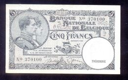 Belgium  5 Francs 1938  P108  AUNC - [ 2] 1831-... : Belgian Kingdom