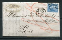 Lettre De 1865 De SAINTES 16 Pour PARIS 60- Timbre Y&T N°22- GC 3265 -DE ROTHSCHILD FRERES - 1862 Napoléon III