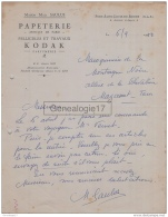 13 3306 PORT SAINT LOUIS BOUCHES DU RHONE 1950 Papeterie MAD. SAULUS Pelllicules Travaux KODAC Parfumerie Avenue D Arles - Stamperia & Cartoleria