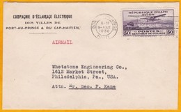 1930 - Enveloppe PAR AVION De Port Au Prince, Haiti  Vers Philadelphie, USA - Timbre PA 50 C - Haïti