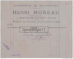 45 542 CHATILLON COLIGNY (SUR LOIRE ) LOIRET  Maconnerie HENRI MOREAU Maitre Macon --- Recu Marinier GREGGY - 1800 – 1899
