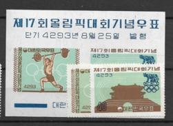 1960 MNH South Korea Mi 307-8+block 148, Postfris - Corée Du Sud