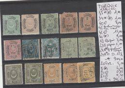 TIMBRE DE TURQUIE LOT EN PLAQUETTES OBLITEREES /*  Nr VOIR SUR PAPIER AVEC TIMBRES DONT 2 TIMBRES SIGNEES  COTE  942.5€ - 1858-1921 Empire Ottoman