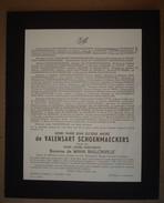Faire-part Du Décès De Henri De Valensart Schoenmaeckers, Veuf De La Baronne Marie De Waha Baillonville, 1884-1952. - Décès