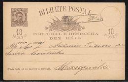 Portugal - 10 Reis Stationery Card / Bilhete Postal - Used To Mangualde C. 1880's - Ganzsachen