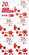 Moldova ,  Moldavie , Prepaid Phonecard - Unite , 20 Lei , Set  Total, Tipe 2+3 , 6 Differents , Paper , Used - Moldova