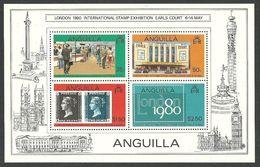 ANGUILLA 1980 STAMP EXHIBITION LONDON 80 PENNYY BLACK M/SHEET MNH - Anguilla (1968-...)