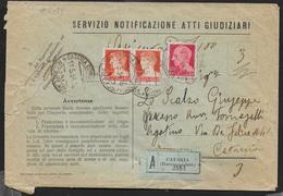STORIA POSTALE REGNO - ATTI GIUDIZIARI ASSICURATA DISTRETTO DA CATANIA 11.05.1934 PER CITTA' - 1900-44 Victor Emmanuel III