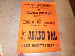 Ancienne Affiche Faulx Les Tombes Gesves 1970 Vélo-Club Orchestre Les Saittaires - Affiches