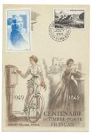 CARTE  DU CENTENAIRE DU TIMBRE POSTE FRANCAIS / 1949 / PARIS - Gedenkstempel