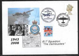 "Great Britain - 617 Squadron ""Dambusters"" - 65th Anniversary Cover - Scampton Lincs. Postmarks - Storia Postale"