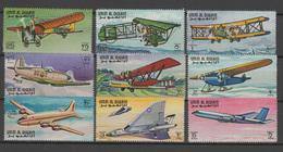 Umm Al Qiwain 1968 Aviation, Airplanes, Set Of 9 MNH - Avions